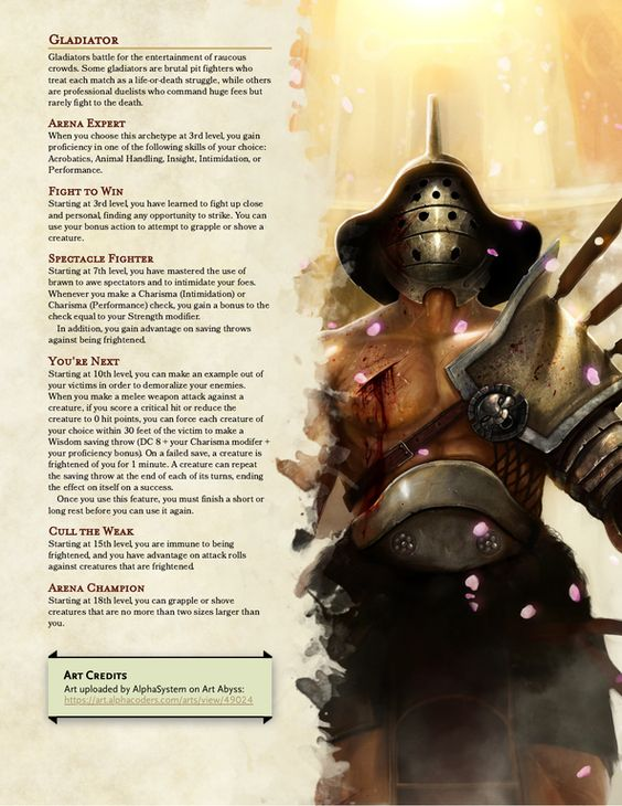 Gladitor 5e (5th edition) race